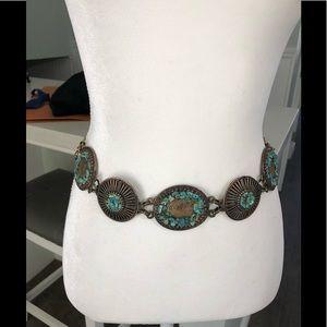 Vintage bronze metal link belt with stones